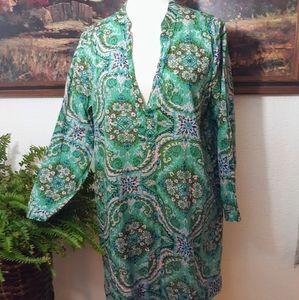 J. Crew cotton paisley tunic dress sz medium